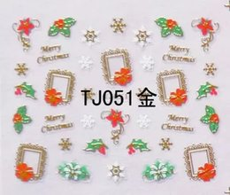 Wholesale Gold Decals - Can Mix Design 3D Christmas gift design Water Transfer Nails Art Sticker decals TJ gold 3d nail decal