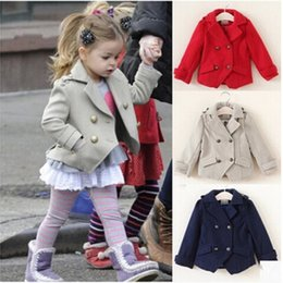 Wholesale lovely winter coats - 2-7Y fashion girls jackets new 2016 Autumn Spring lovely princess coat for children solid cotton top quality kids coats