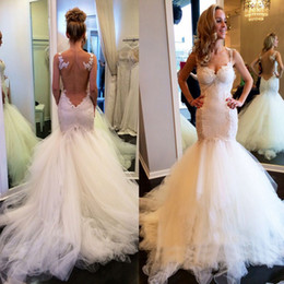 Wholesale Bridal Robes China - 2017 Wedding Dresses Gowns Illusion Backless Mermaid Bridal Gowns Tulle And Lace Sexy China Custom Made Dress For Brides Robe De Mariée