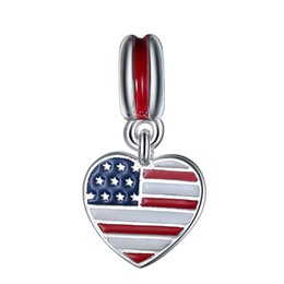Wholesale Silver Pendant Bracelets - Wholesale 925 Sterling Silver Enamel US Heart Flag European Charm Beads Fit Pandora Style Bracelet Necklace Pendant DIY Original Jewelry