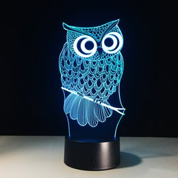 Wholesale Owl Trees - 2016 Owl Style 3D Optical Illusion Lamp Night Light DC 5V USB AA Battery Wholesale Dropshipping