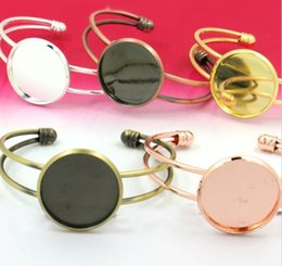 Wholesale Wholesale Adjustable Cuff Rings - Cuff Bangle and Bracelets Blank 25mm Flat Pad Adjustable silver and Antique bronze DIY Jewelry Findings ,20pcs wholesale