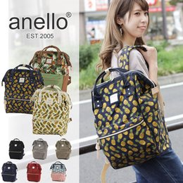 Wholesale Silk Backpacks - Hot Sale Japan Anello NEW Unisex CANVAS Rucksack Backpack School Bag Flag print pineapple Print DHL Free