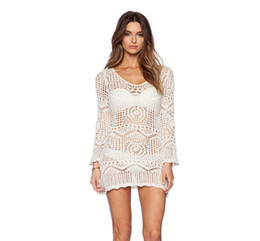 Wholesale Womens Lace Suits - Bikini Cover Up 2016 New Sexy Womens Beach Dress Swimwear Hollow Out Crochet Bikini Cover Up Bathing Suit White Lace Crochet Long Sleeve