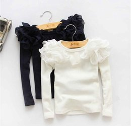 Wholesale Girls Baby Shirts - 2016 New Autumn Cute Girls Puff Sleeve Shirts Solid Color Children Long Sleeve T-shirts Kids Princess Cotton Tops Baby Girl Casual Blouse