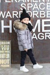 Wholesale Down Jacket Kids Duck - ME9 kid Boys girls real raccoon fur collar kids jacket outwear winter french warm snow coat anorak children parka