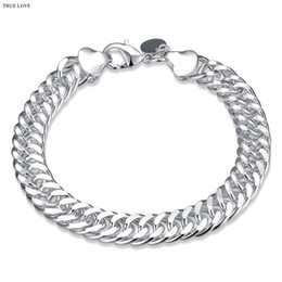 Wholesale Cool Men Style - 10MM men chain bracelet fashion jewelry 925 sterling silver plated cool party style Christmas gift Top quality free shipping