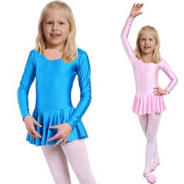Wholesale Long Ballet Dresses - Child Girls Ballet Dress For Children Girl Dance Clothing Kids Ballet Costumes For Girls Dance Long Sleeve Leotard Girl Dancewear