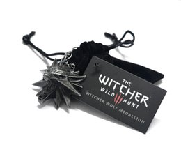 Wholesale Wolf Hunts - 2016 the Witcher 3 Pendant   The Wild Hunt 3 Figure Game Necklace   Wizard Medallion Wolf chain + Necklace