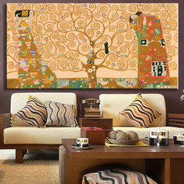 Wholesale Picture Replicas - Huge Hand Paint Oil Painting Replica Of The Tree Of Life From Gustav Klimt oil painting wall pictures gustav klimt painting