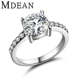 Wholesale Micro Pave Diamond Engagement Ring - MDEAN Round White Gold Plated Wedding Rings For Women AAA CZ Diamond Micro Paved Women Engagement Rings Bague Accessories MSR291