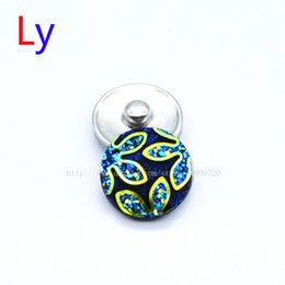 Wholesale Silver Blue Flower Ring - Hot Sale 18mm Snap Buttons Fashion Blue Flower Metal Ginger Clasps DIY Noosa Jewelry Accessories YD0110