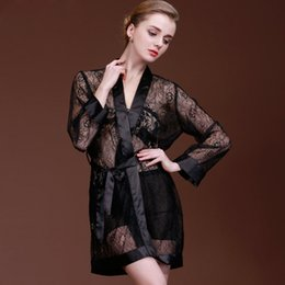 Wholesale Hot Transparent Robes - Wholesale- Women Transparent Lace Robe Sexy Bothrobe 1pcs Tenpatation Nightgowns Hot Hollow Summer Sleepwear Kimono Robes for Women 16_135