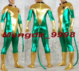 Costume vert brillant pour homme en Ligne-Costume Superhero Unisexe Or / Vert Brillant Lycra Métallique X-Men Costume Catsuit Costumes Fantaisie X-Men Costumes Halloween Cosplay Costume M202