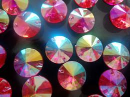 Wholesale Plastic Rose Beads - Loose beads Round Rose Red AB 10mm Rivoli Sew On Acrylic Crystal Diamante Rhineston flatback stone 400pcs lot