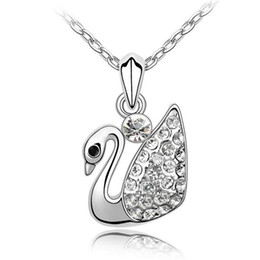 Wholesale Korean Pendant Design - Korean Fashion Swan Necklace Pendant Austrian Crystal Necklace For Women 18KRGP Branded Design 18K White Gold Plated 2451