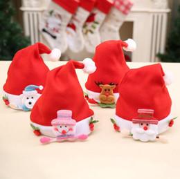 Wholesale Decoration Santa Claus - 4pcs set Santa Decoration Kid Baby Hat Santa Snowman Reindeer Ornaments Kids Christmas Cute Hats Children Decor Caps