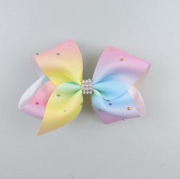 Wholesale Korean Kid Fashion Wholesale - JOJO Rainbow Rhinestone Hair Bows Clip Korean Cheer Bows Gradient Kid Hair Accessories for Girl Fashion Xmas Gifts