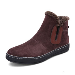 Wholesale Warm Furry Boots - Fashion Handmade Cow Suede Men Boots Winter New Slip on Keeping Warm Men Snow Boots Side Zipper Furry Flats Men Ankle Boots