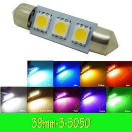 Wholesale Warm White Led Festoon Lights - 39mm Festoon Dome 3 LED 5050 SMD Festoon Car Interior Bulb White DC 12V Brand New