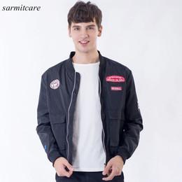 Wholesale 4xl Mens Briefs - CS108- 2016 Quality Brief Style Crew Neck Soft Mens Jacket 2 Colors Choice Men Fashion Jacket Black White Men Autumn Jacket