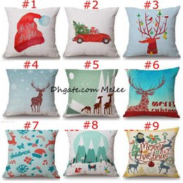 Wholesale Xmas Throw Pillows - INS Christmas Pillows Case Xmas Pillow Cover Reindeer Elk Throw Cushion Cover Tree Sofa Nap Cushion Covers Santa Claus Home Decor 45*45cm