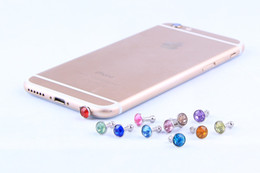 Wholesale Plug Phone Bling - Bling Diamond Dust Plug Universal 3.5mm Cell phone plug charms cap For iphone 4s 5s 5c samsung note 3 S4 ipad mini