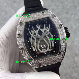 Wholesale Mechanical Spider - Top Quality Swiss Brand Luxury Diamonds Stainless RM19 Spider Face Mens Mechanical Watches Rubber Bracelets Automatic Men Dress Wristwatches