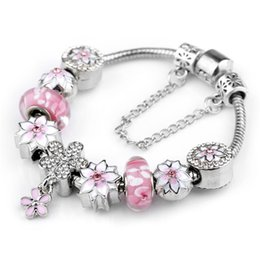 Wholesale sterling silver pendant clasp - 2017 925 Sterling Silver Pink Murano Glass Beads Silver fit Pandora Charm Bracelet Jewelry DIY Magnolia Flower Dangle with Crystal Pendant