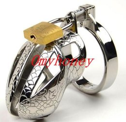 Wholesale Dildo Chastity Belt - M062 new male bondage lockable stainless steel cock cage penis ring cage,black dildo cage rings, sex toys for men