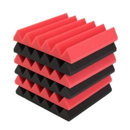 Wholesale Musical Instrument Accessories - 6pcs 30x30x5cm Acoustic Foam Sound Absorption Musical Instruments Parts & Accessories - Red Black