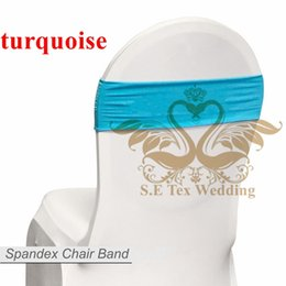 Wholesale Turquoise Spandex Chair Bands - Hot Sale Chair Band \ Spandex Chair Sash Bow For Chair Cover - Turquoise Color