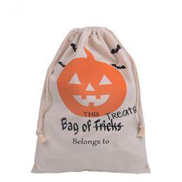 Sacchetti di Halloween Caramelle di tela di canapa Pacchetto di spalla Testa di regalo Borsa di cotone con coulisse Borsa di zucca della borsa da danza figurine all'ingrosso fornitori