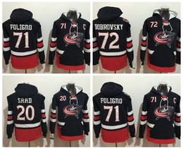 Wholesale Nick Winter - 2017 Columbus Blue Hoodies 20 Brandon Saad 71 Nick Foligno 72 Sergei Bobrovsky hockey Jersey Pullover Sweatshirts Winter Jacket Stitched