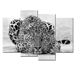 Wholesale Oil Leopard Animal - 4 Pieces Black & White Wall Art Painting Blue Eyed Leopard Prints On Canvas The Picture With Wooden Framed For Home Decoration