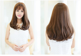 Wholesale Cheap Stylish Wigs - chemical fiber wigs Cheap Stylish Natural Wave Long Brown No Lace Hair Wigs Heat Resistant Heavy Density Women Wig Machine Made wigs