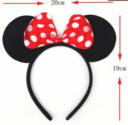 Wholesale Minnie Red Ears - Children lovely Mickey and Minnie mouse ears headband girl boy Hair Sticks kids birthday party supplies decorations