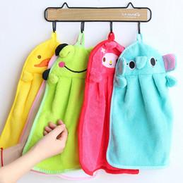 Wholesale Bamboo Wipes - 100pcs lot Microfiber Fabric Nursery Hand Towel Soft Plush Fabric Cartoon Animal Wipe Hanging Bathing Towel