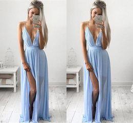 Wholesale Modern Maxi Dresses - Sexy Deep V-neck Baby Blue Prom Dresses 2016 Chiffon Spaghetti Straps V Neck Side Split Evening Dresses Cheap Maxi Party Dresses BA2184