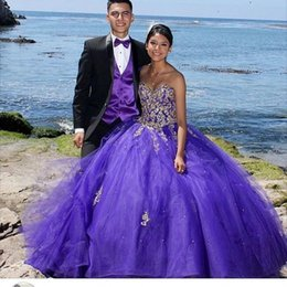 Wholesale girls 14 years dress - Luxury Purple Quinceanera Dresses Ball Gowns Appliques Beads Sweetheart Girls 16 Years Dresses Vintage Tulle Prom Party Gowns 2017 Plus Size