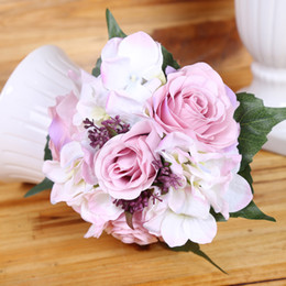 Wholesale Hydrangea Rose Bouquet Wedding - Free shipping 4colors Emulational Spring Artificial Rose Hydrangea flower Bouquets Silk Flower Wholesale weddding or Home Room decoration