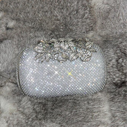 Wholesale Crystal Flower Twist - 2017 Newest Tree Flower Diamonds Evening Bag Hand Holding Bag Drill Banquet Ladies Package Bride Bag Bling Bling Shiny