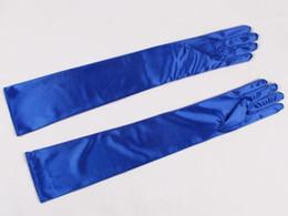 Wholesale Long Satin Gloves Black - 2018 New Red Black Royal Blue Long Satin Elegant for Bride Bridal Wedding Gloves Women Finger Dresses gants mariage luvas de noi