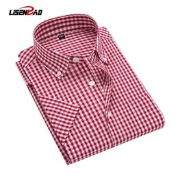 Wholesale Cheap Mens Plaid Shorts - Plaid Shirt Men Shirts 2017 New Summer Fashion Chemise Homme Mens Checkered Shirts Short Sleeve Shirt Men Cheap Red And Black
