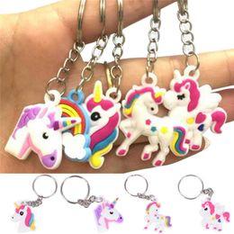 Wholesale Keyring Keys - Unicorn Keychain Keyring Cellphone Charms Handbag Pendant Kids Gift Toys Phone Decoration Accessory Horse Key Ring