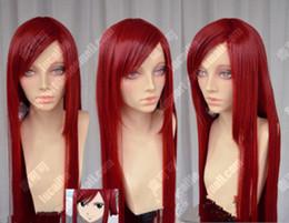 Parrucca piena del merletto di immagine di modo di alta qualità 100% nuovissima Parrucca del partito di Cosplay di colore rosso scuro 100cm di Erza Scarlet Dark Fairy da