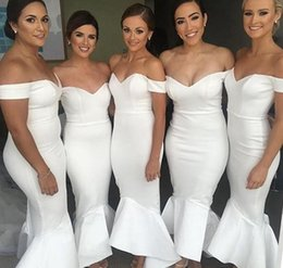 Wholesale Modest Junior Formal Dresses - 2017 Modest White Bridesmaid Dresses Long Off The Shoulder Wedding Guest Dress Mermaid Formal Weddings Party Gowns For Bridesmaids