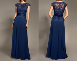 Wholesale Inexpensive Long Gold Dresses - 2017 Inexpensive Plus Size Short Sleeves Long Royal Blue Lace Chiffon Mother Dressr Of The Bride Dresses HY1092