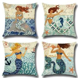 Wholesale Sea Beds - 4 Styles 45*45cm Sea Life Little Mermaid Pillow Case Linen Cotton Square Throw Pillowcase Home Sofa Bedding Home Textiles CCA7733 50pcs