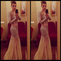 Wholesale Pink Transparent Dress Women - 2016 Women Long Prom Dresses Formal Party Gown Pageant Champagne Sexy Transparent Dresses Mermaid Formal Gown With Long Sleeve